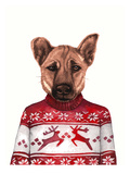 Dog in Snowflake Sweater