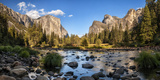 California, Panoramic View of Merced River, El Capitan, and Cathedral Rocks in Yosemite Valley Papier Photo par Ann Collins