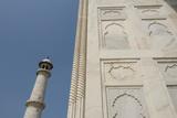 India  Agra  Taj Mahal Ornate Marble Wall with Corner Tower