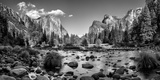 California  Panoramic View of Merced River  El Capitan  and Cathedral Rocks in Yosemite Valley