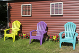 Canada  Peggy's Cove  Nova Scotia  Barn with Colorful Adirondack Chairs with Flowers