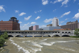 Rochester  New York  Beautiful Genesee River and Downtown Skyline on Main Street Brown Water River