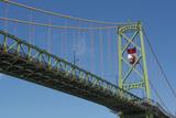 Halifax  Nova Scotia  Harbor with Large Famous Bridge Mckay Bridge with Canadian Flag Flying