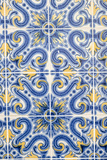 Portugal  Lisbon  Alfama District Doorway with Blue and Yellow Tile Work