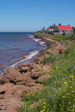 Prince Edward Island  Prim Point Shore and Waves with Red Roof House in Summer with Wildflowers