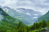 A View of Waterfalls and Forest from the Flam Railway  Flamsbana  Flam  Norway  Scandinavia  Europe