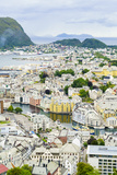 High View of the Harbour and Town of Alesund  Norway  Scandinavia  Europe