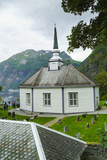 Small Octagonal Church in the Village of Geiranger  Norway  Scandinavia  Europe