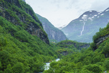 River Valley and Waterfall Near Flam  Norway  Scandinavia  Europe