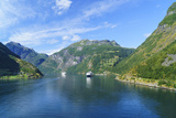 Cruiseships Moored at the Head of Geirangerfjord by the Village of Geiranger  Norway  Scandinavia