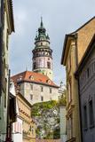 View Through the Gothic House Facades to the Krumlov Castle  Cesky Krumlov  Czech Republic  Europe