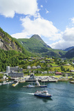 The Village of Geiranger Is an Improtant Cruise Ship Port at the Head of Geirangerfjord  Norway