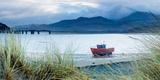Fishing Boat with Barmouth Bridge in Background  Coast of Cardigan Bay  Gwynedd  Wales  UK