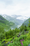 Waterfalls and Mountain Valleys Viewed from Vatnahalsen  Norway