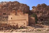 Local Men on Donkeys Pass Qasr Al-Bint Temple  City of Petra Ruins  Petra  Jordan  Middle East