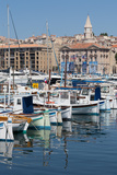 Traditional Fishing Boats Moored in the Old Port of Marseille  Provence  France  Europe