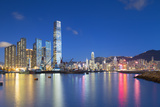 International Commerce Centre (Icc) and Yau Ma Tei Typhoon Shelter at Dusk  Hong Kong  China