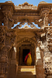 Indian Lady in Traditional Dress in a Temple in Jaisalmer  Rajasthan  India  Asia