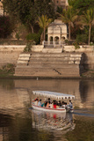 Tourists on a Boat on Lake Pichola in Udaipur  Rajasthan  India  Asia