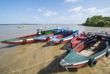 Colourful Boats on the Suriname River  Paramaribo  Surinam  South America