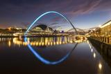 Gateshead Millennium Bridge at Night  River Tyne  Newcastle Upon Tyne  Tyne and Wear  England  UK