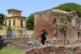Ruins of Roman Terme Di Nerone Thermal Baths at Largo Parlascio Square  Tuscany (Toscana)  Italy