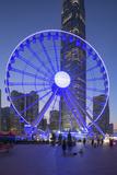 Ferris Wheel at Dusk  Central  Hong Kong Island  Hong Kong  China  Asia