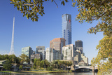 Eureka Tower and Victorian Arts Centre Along Yarra River  Melbourne  Victoria  Australia  Pacific