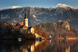 Lake Bled at Dawn with Santa Maria Church (Church of Assumption)  Gorenjska  Julian Alps  Slovenia