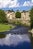 Medieval Village and Allier River  Lavoute Chilhac  Auvergne  Haute Loire  France  Europe