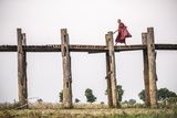 Buddhist Monk on U Bein Teak Bridge  Myanmar (Burma)