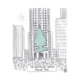 "TITLE: The Rockerfeller Center ""August Tree"" Giant car freshener hangs in  - New Yorker Cartoon"