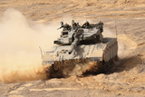 A Merkava Iii Main Battle Tank in the Negev Desert  Israel