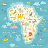 Animals World Map Africa Beautiful Cheerful Colorful Vector Illustration for Children and Kids