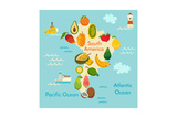 Fruit World Map South America