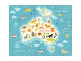 Animals World Map Australia Vector Illustration