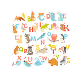 Cute Vector Zoo Alphabet Funny Cartoon Animals