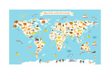 Animals World Map Colorful Cartoon Vector Illustration for Children and Kids