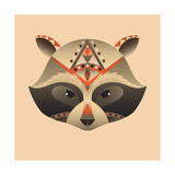 The Abstract Head of Raccoon Vector Illustration