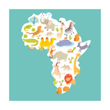 Animals World Map Africa Colorful Cartoon Vector Illustration
