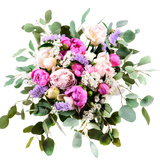 Bright Summer Bouquet of Peonies Isolate on White  Top View
