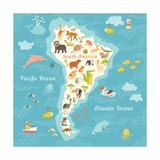 Animals World Map Sorth America Vector Illustration