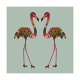Flamingos Seafoam Giclée premium par Sharon Turner