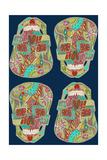 Flower Skulls Blue Reproduction d'art par Sharon Turner