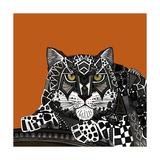 Snow Leopard Orange Giclée premium par Sharon Turner