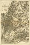 1885 NYC Map Reproduction d'art par N. Harbick
