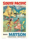 Tahiti  South Pacific - Sail Matson - Steamships SS Mariposa  SS Monterey