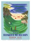 Durch Frankreich mit der Bahn (Discover France by Train) - The Basque Coast - French Railways Reproduction d'art par Bernard Villemot