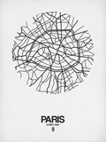 Paris Street Map White Reproduction d'art par NaxArt