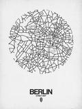 Berlin Street Map White Reproduction d'art par NaxArt